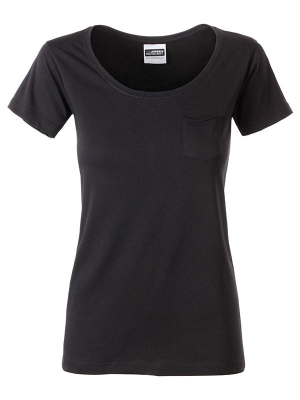 James & Nicholson Dámske tričko z biobavlny 8003 - Černá | XL