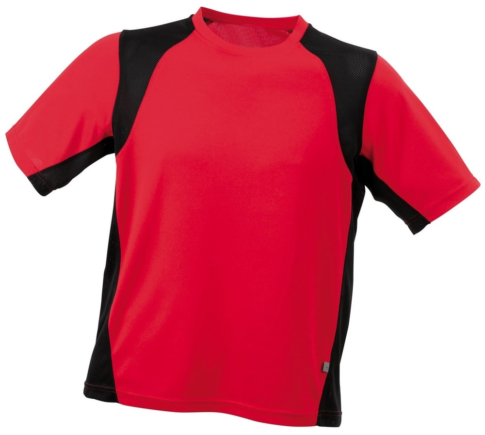 James & Nicholson Pánske športové tričko s krátkym rukávom JN306 - Červená / černá | XXXL