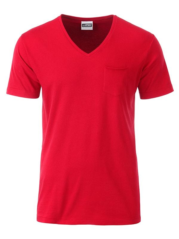 James & Nicholson Pánske tričko z biobavlny 8004 - Červená | XXL