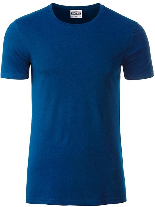 James & Nicholson Klasické pánske tričko z biobavlny 8008 - Tmavá královská modrá   XL