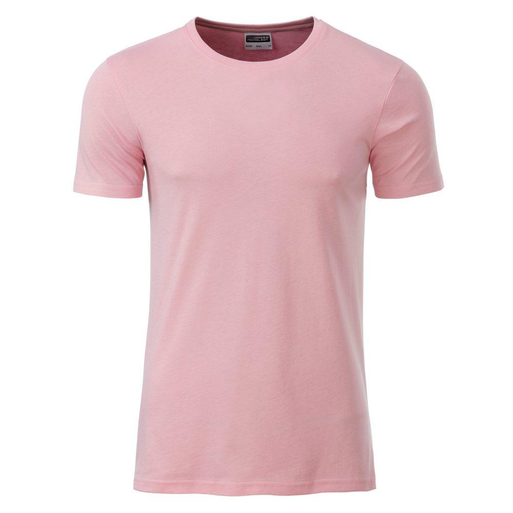 James & Nicholson Klasické pánske tričko z biobavlny 8008 - Jemně růžová   XXL
