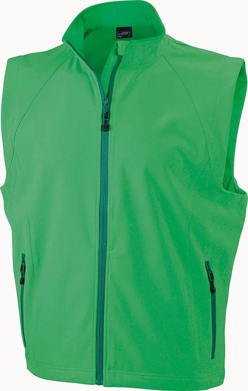 James & Nicholson Pánska softshellová vesta JN1022 - Zelená | XXXL