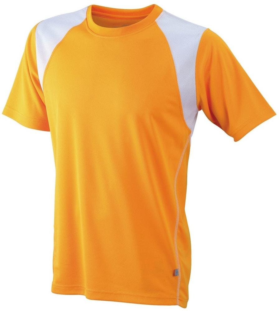 James & Nicholson Pánske bežecké tričko s krátkym rukávom JN397 - Oranžová / bílá | XXXL