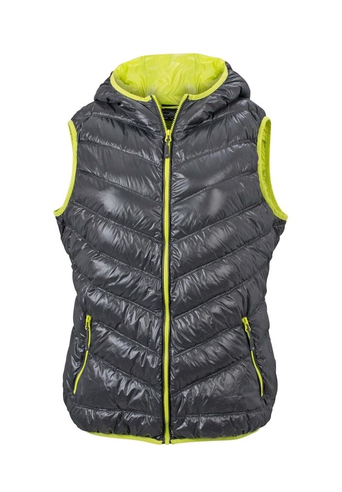 b20983cb2edd Lehká dámská péřová vesta JN1061 - Tmavě šedá   žlutozelená
