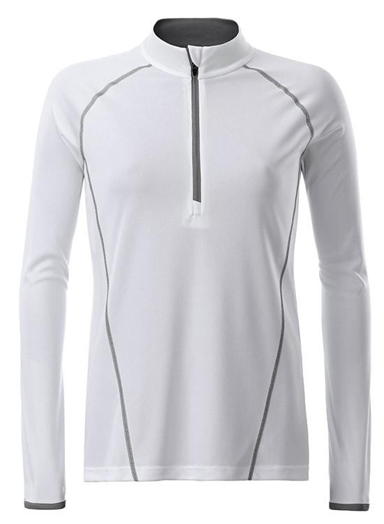 James & Nicholson Dámske funkčné tričko s dlhým rukávom JN497 - Bílá / stříbrná   XL