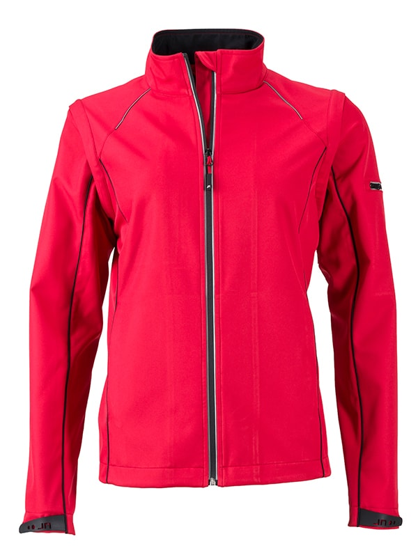 James & Nicholson Dámská softshellová bunda 2v1 JN1121 - Červená / černá | L
