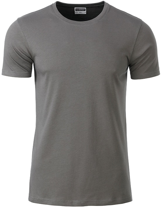 James & Nicholson Klasické pánske tričko z biobavlny 8008 - Středně šedá | M