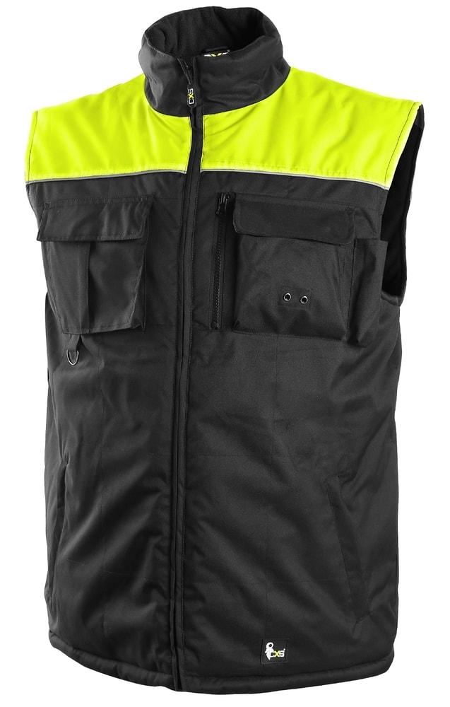 Canis Zateplená pracovná vesta SEATLE NEW - Černá / žlutá | XL