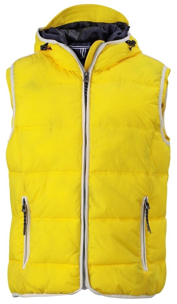 James & Nicholson Pánska vesta s kapucňou JN1076 - Slunečně žlutá / bílá | S