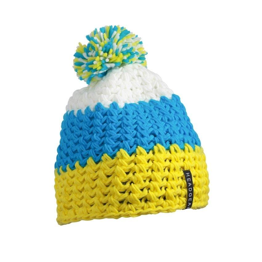 8c21deacc Trojfarebná háčkovaná zimná čiapka s brmbolcom - DobrýTextil.sk