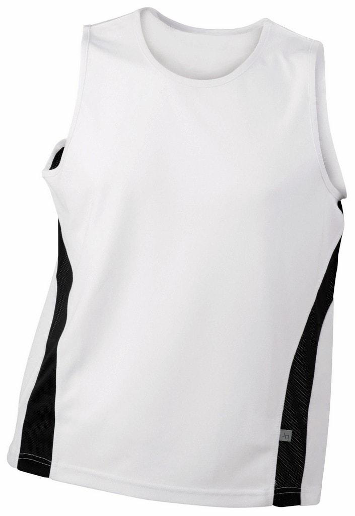 2dde27185f17 ... Pánske športové tričko bez rukávov JN305 Biela   čierna