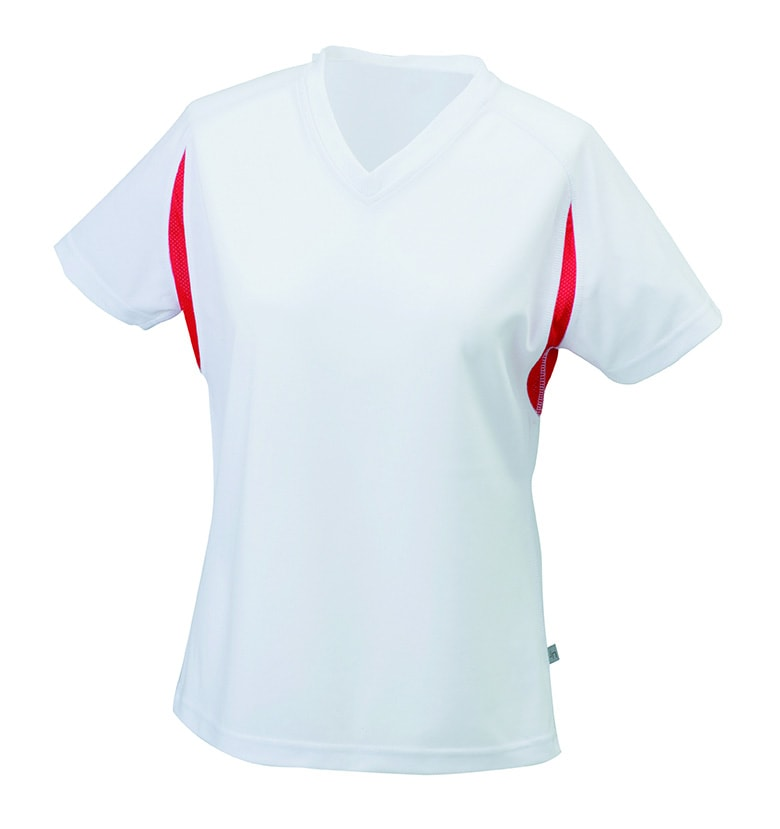 d9e4118a2970 ... Dámske športové tričko s krátkym rukávom JN316 Biela   červená