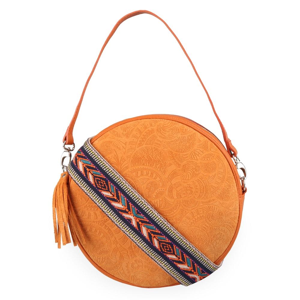 Elega Dámská kožená crossbody kabelka Violet 69413 - oranžová