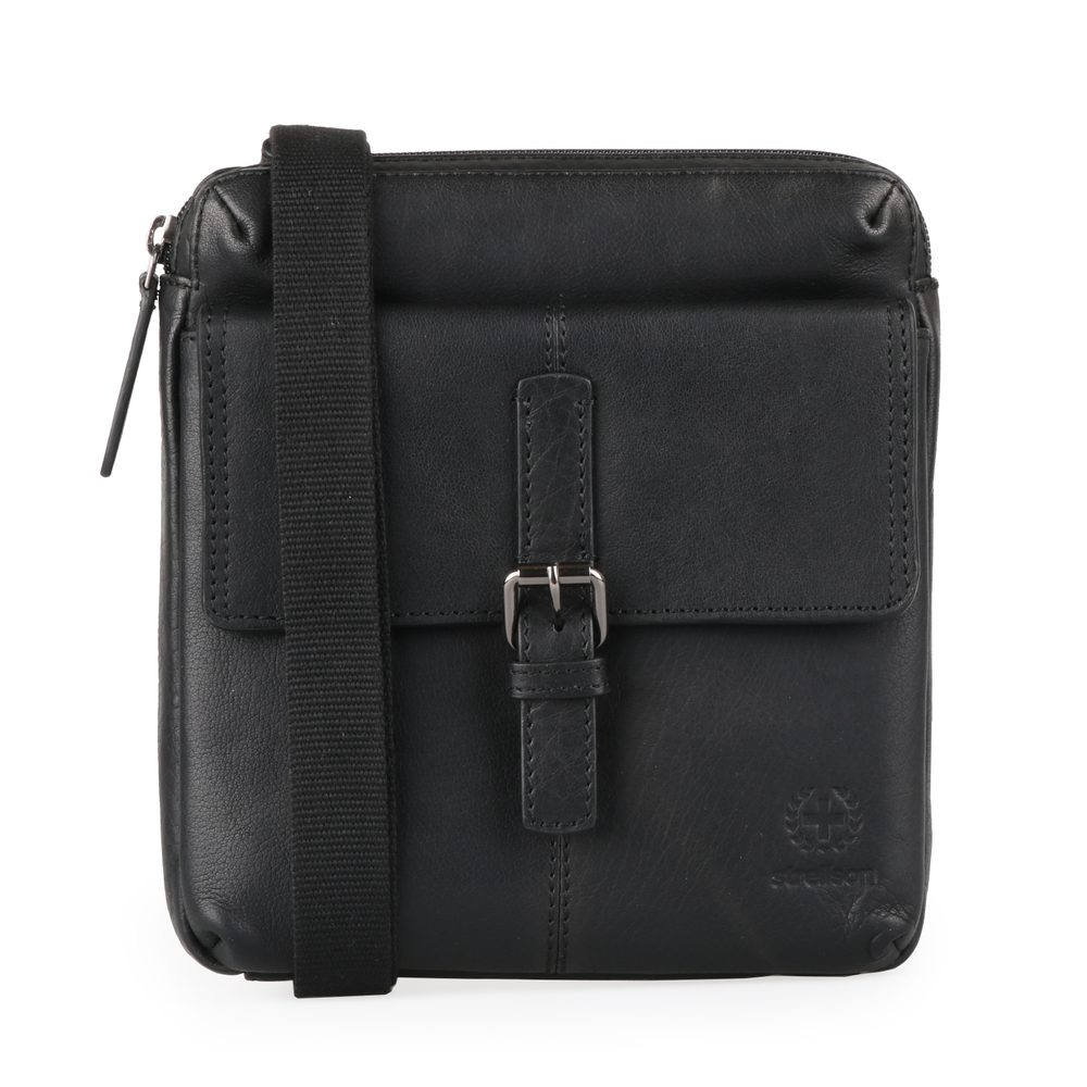 Strellson Pánská kožená taška přes rameno Blackwall 4010002750 - černá