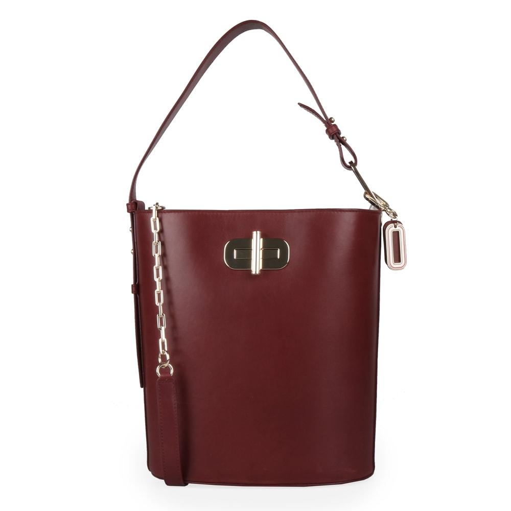 Tommy Hilfiger Dámská kožená kabelka Soft Turnlock Bucket AW0AW07358 - vínová
