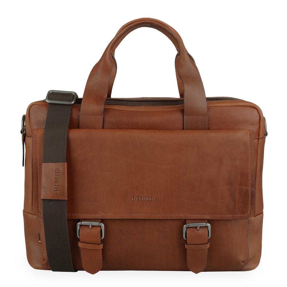 Strellson Pánská kožená taška na notebook Turnham 2 4010002583 - hnědá
