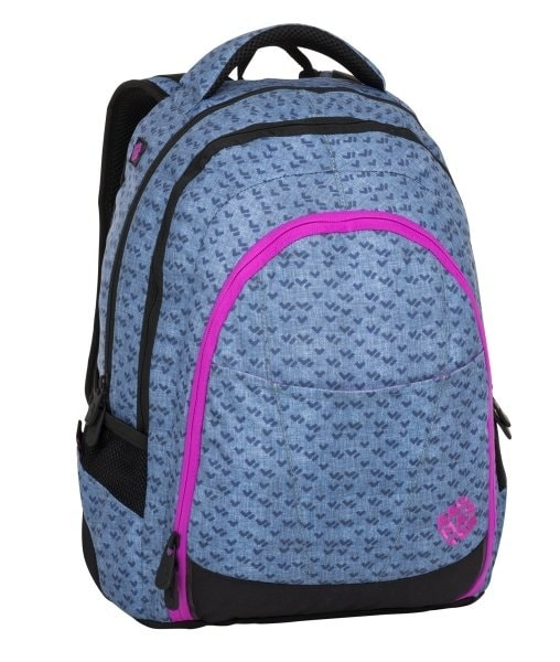 Bagmaster Dívčí studentský batoh DIGITAL 8 A BLUE/PINK/BLACK 24 l