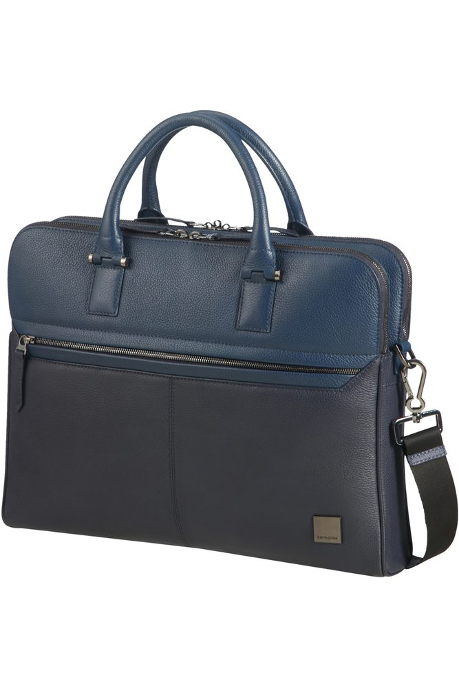 Samsonite Kožená taška na notebook Senzil Slim 14,1'' - modrá