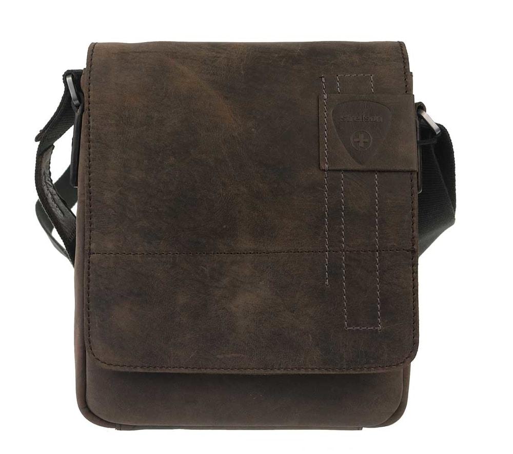 Strellson Pánská kožená taška přes rameno Richmond 4010001165, hnědá