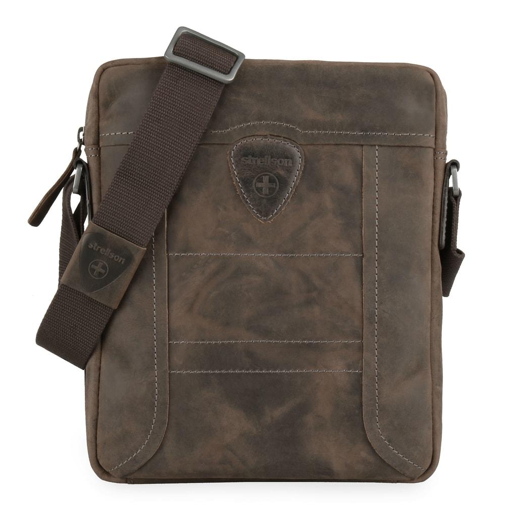 Strellson Pánská kožená taška přes rameno Hunter 4010002563 - tmavě hnědá
