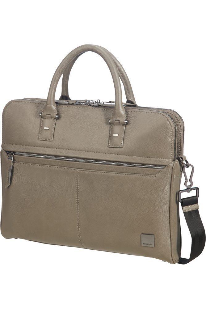 Samsonite Kožená taška na notebook Senzil Slim 14,1'' - béžová