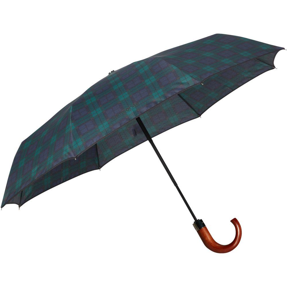 Samsonite Skládací automatický deštník Wood Classic S Crook - zelená