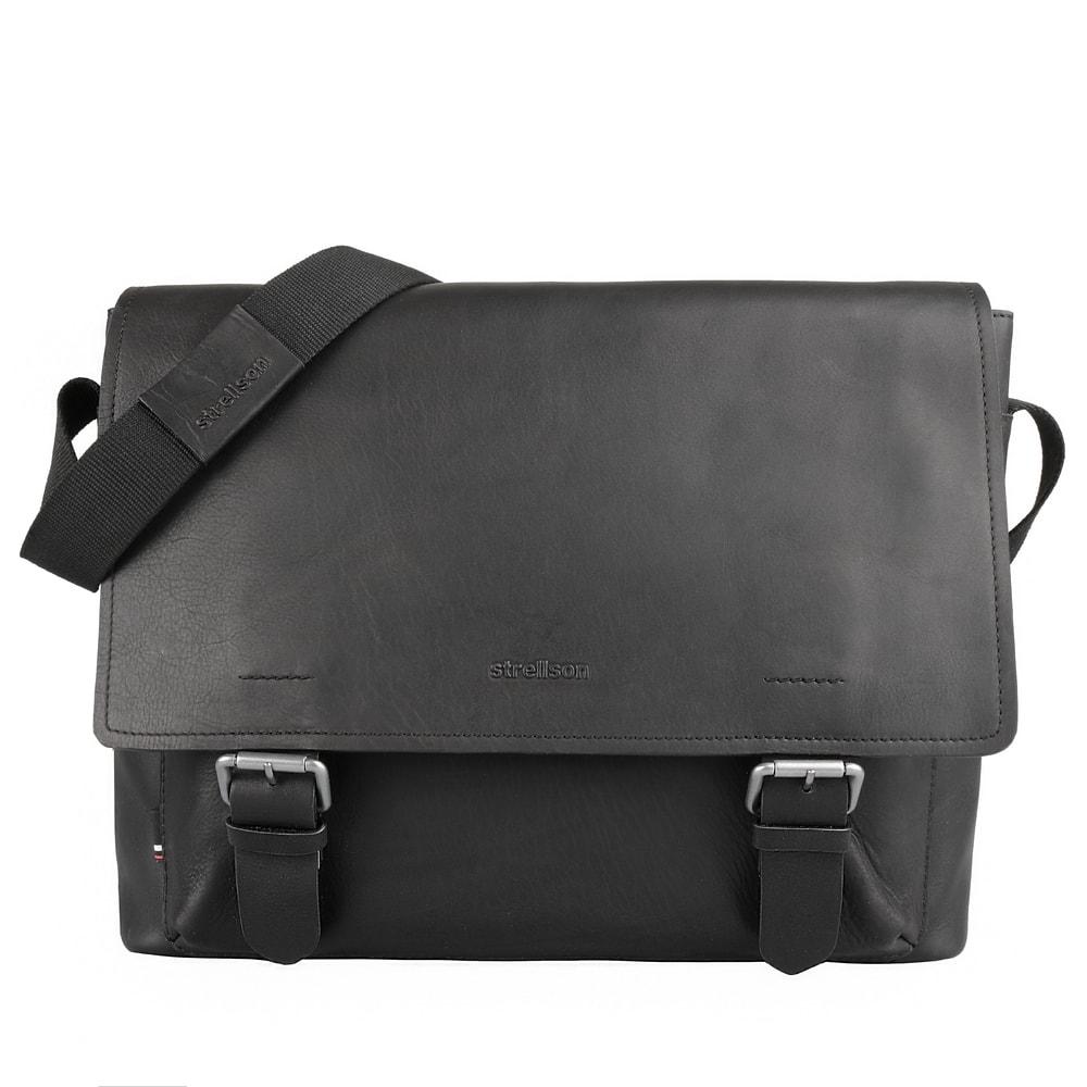 Strellson Pánská kožená taška přes rameno Turnham 2 4010002584 - černá