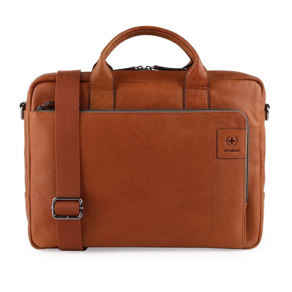 Strellson Pánská kožená taška přes rameno Hyde Park 4010002765 - koňaková