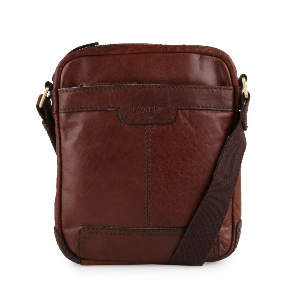 Lagen Pánská taška kožená taška přes rameno 20654 - hnědá