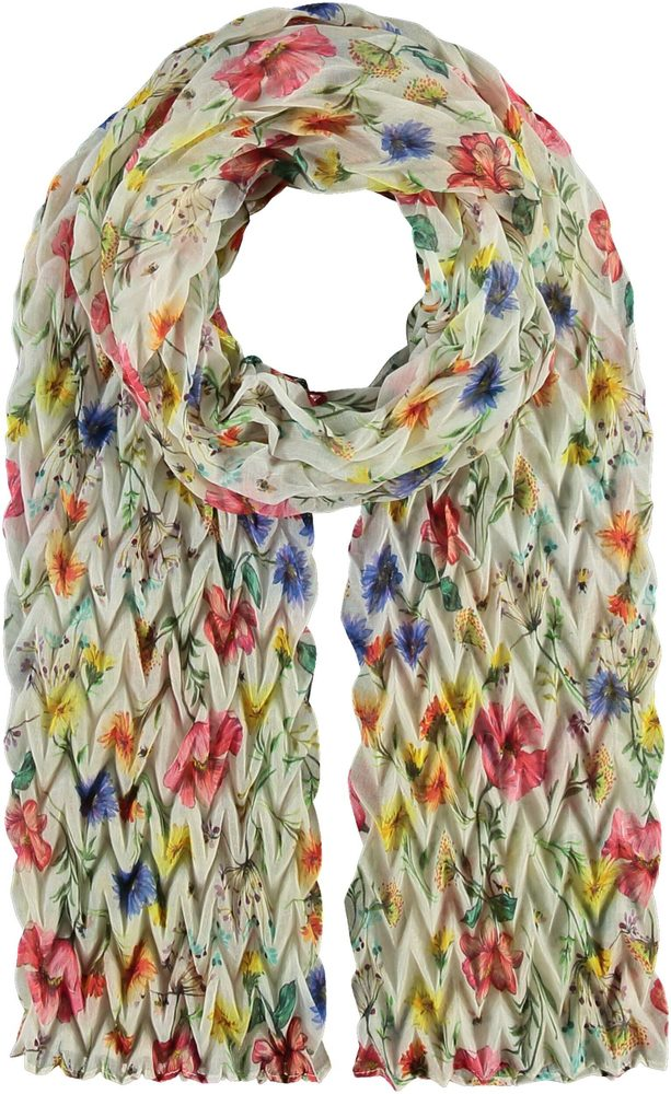 Fraas Dámský plisovaný šátek s květy 602036 - multicolor