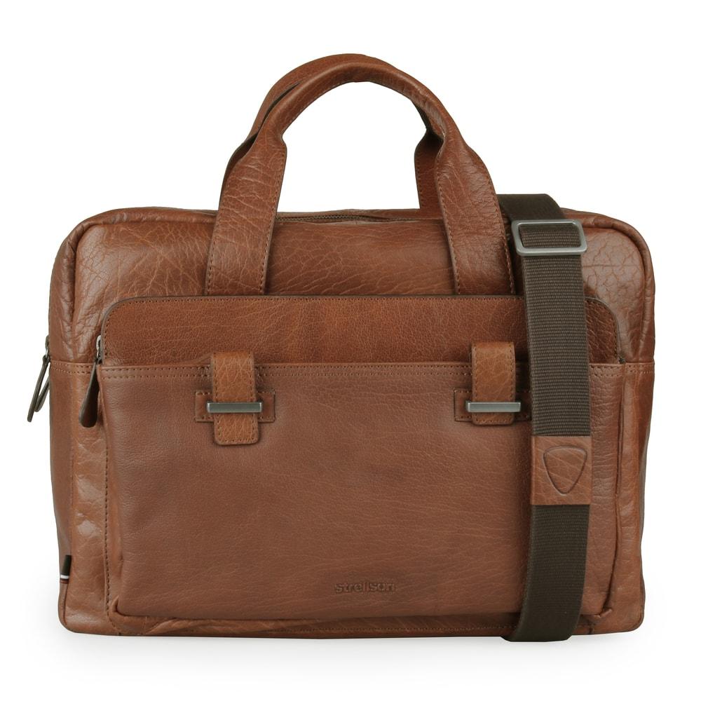 Strellson Pánská kožená taška do ruky Sutton 4010002572 - koňaková