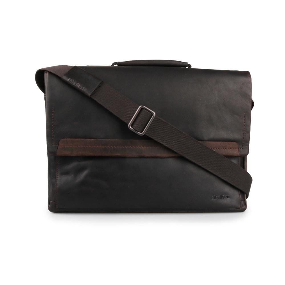 Strellson Pánská kožená taška přes rameno Camden 4010002282 tmavě hnědá