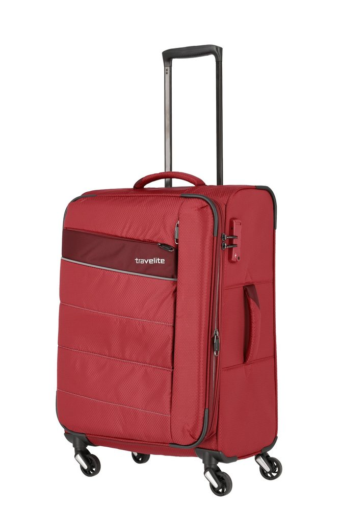 Travelite Látkový cestovní kufr Kite 4w M Red 67/77 l