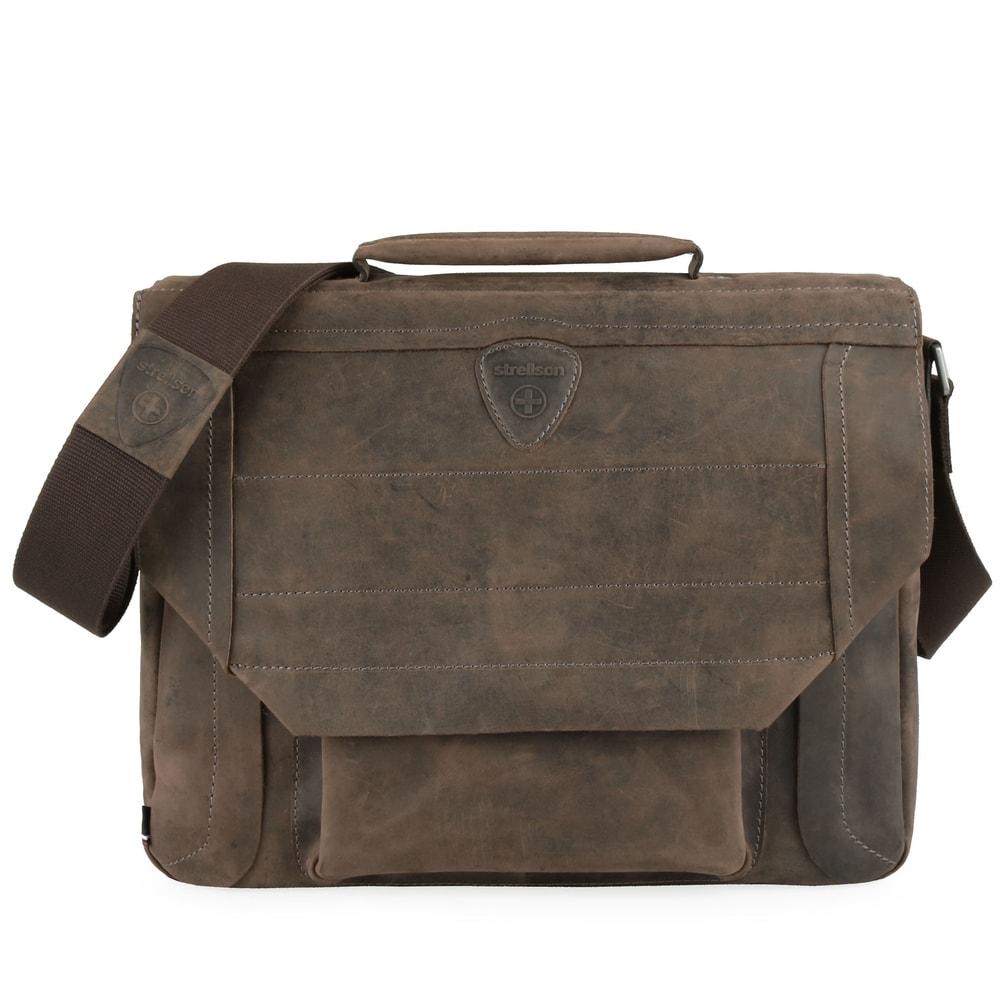 Strellson Pánská kožená taška přes rameno Hunter 4010002560 - tmavě hnědá