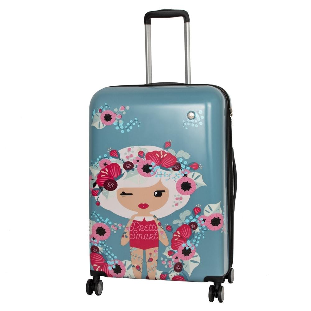 Travelite Cestovní kufr Lil' Ledy 4w M hardcase Grey/blue 74248-06 76/87 l