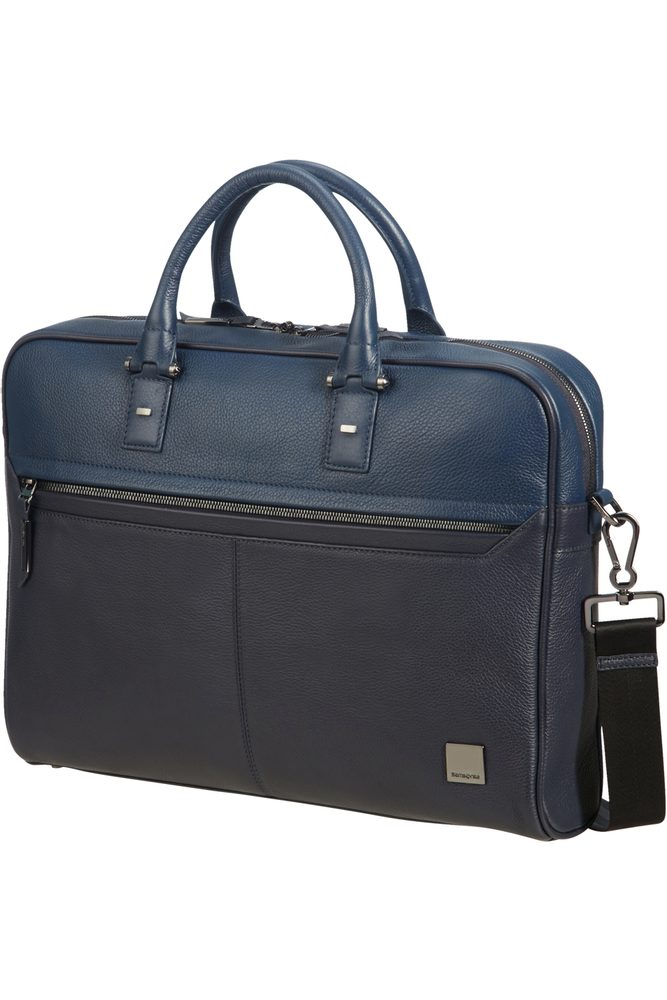 """Samsonite Kožená taška na notebook Senzil 15.6"""" - modrá"""