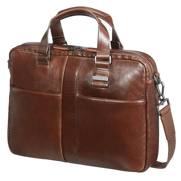 """Samsonite Kožená taška na notebook 14,1"""" West Harbor 70D-004, hnědá"""