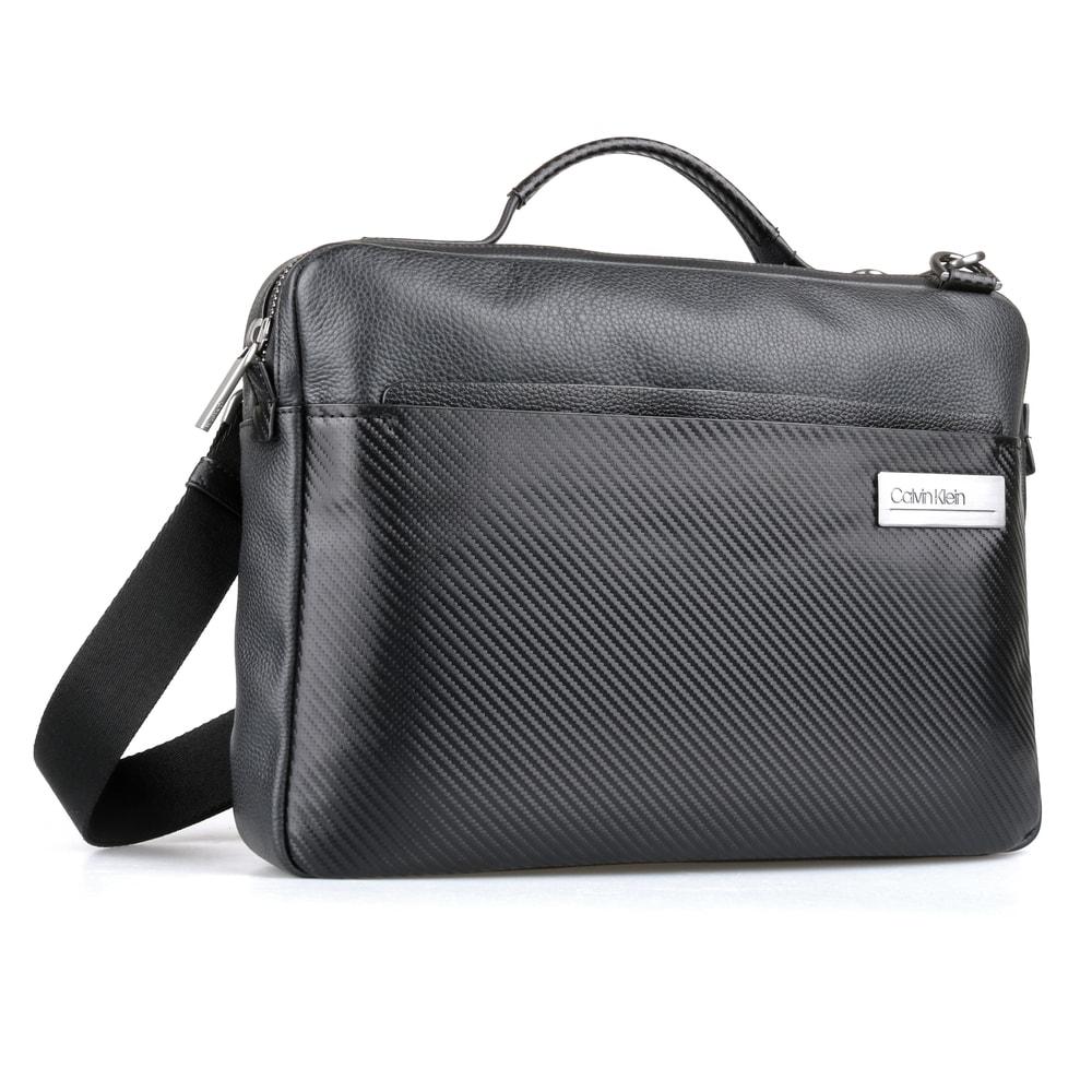 Calvin Klein Pánská kožená taška na notebook 13'' Carbon K50K504797 - černá