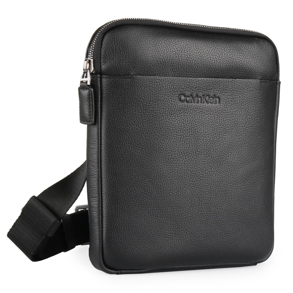 Calvin Klein Pánská kožená taška přes rameno iPad Crossover K50K504350 - černá