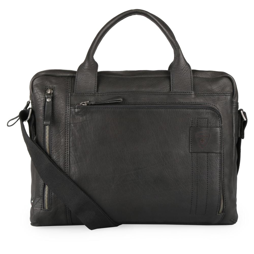 Strellson Pánská kožená taška přes rameno Upminster 4010002588 - černá