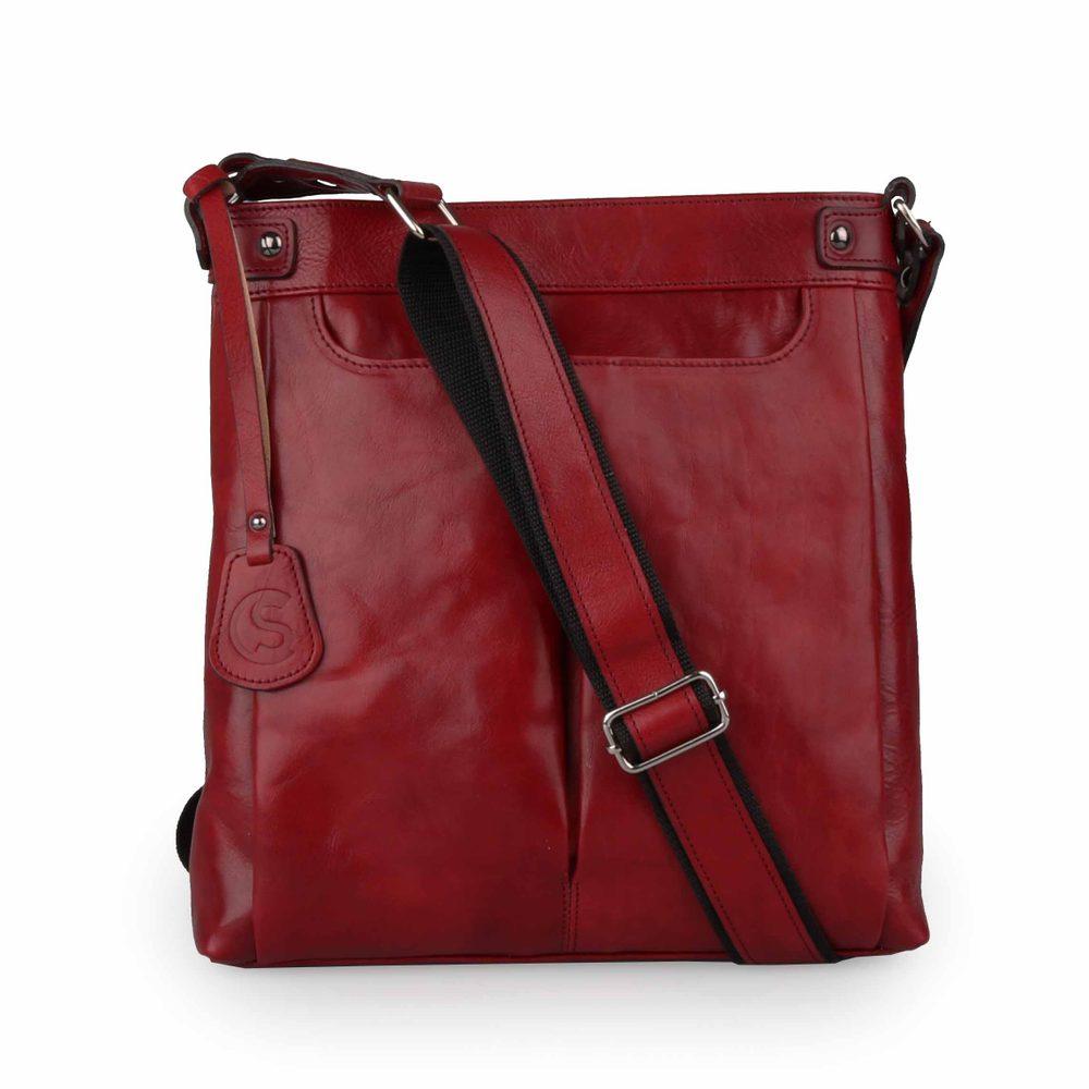 Sněžka Náchod Dámská kožená crossbody kabelka 4968 - tmavě červená-rubín
