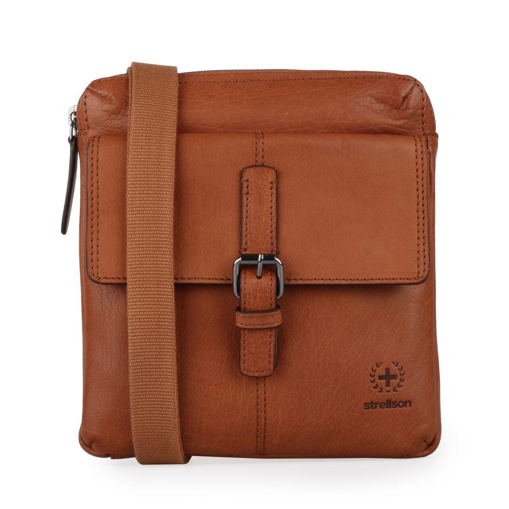 Strellson Pánská kožená taška přes rameno Blackwall 4010002750 - koňaková