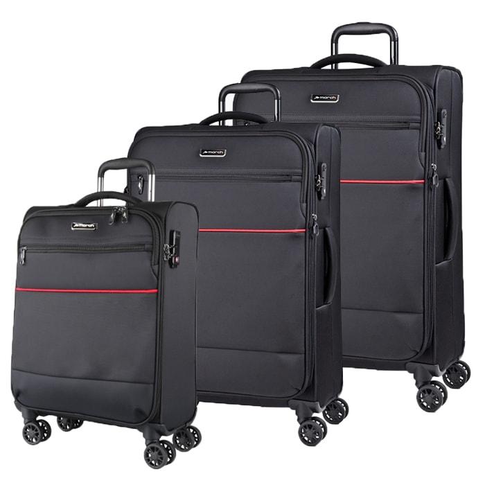 Levně March Sada cestovních kufrů Easy S + M + L, černá