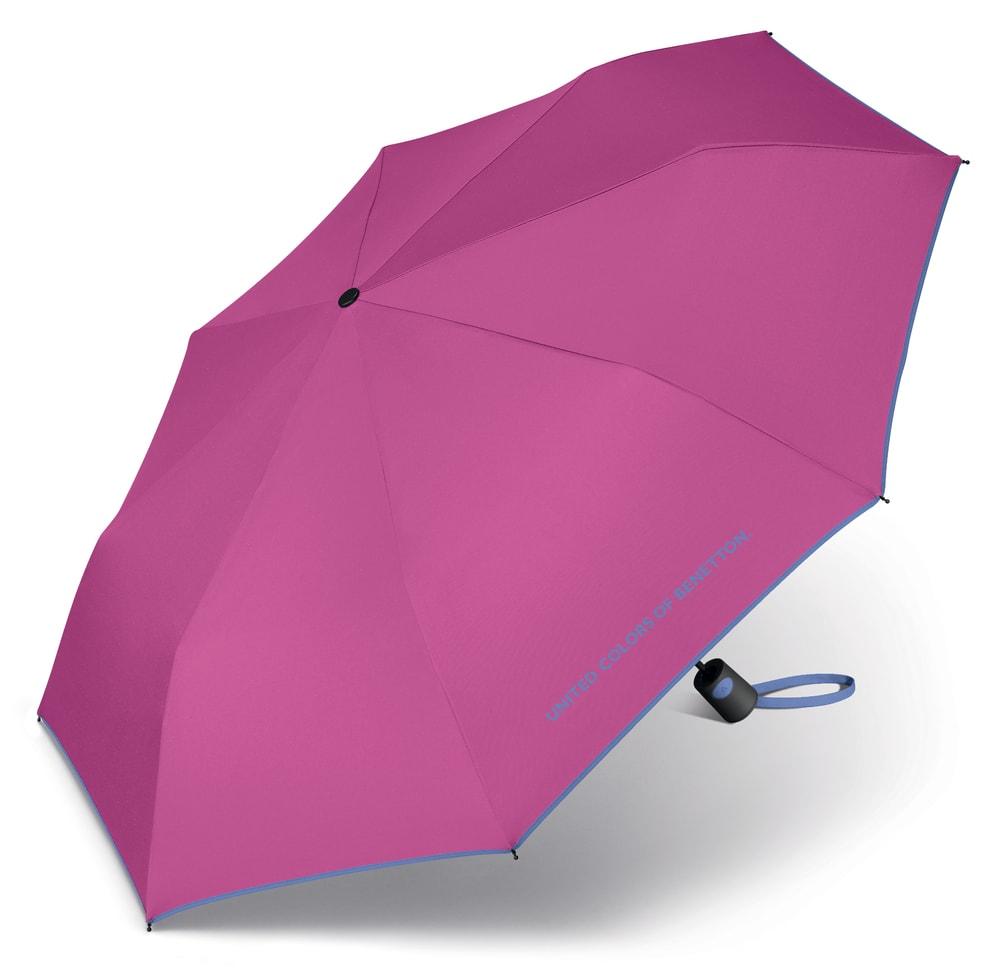 United Colors of Benetton Skládací poloautomatický deštník 56600 - fuchsiová