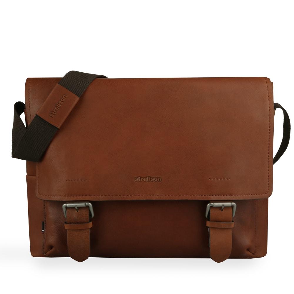 Strellson Pánská kožená taška přes rameno Turnham 2 4010002584 - hnědá