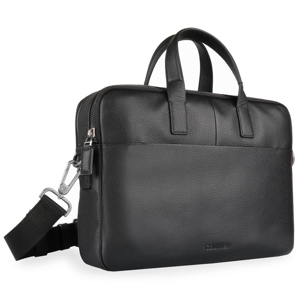 Calvin Klein Pánská kožená taška na notebook 2 Gusset K50K504349 - černá
