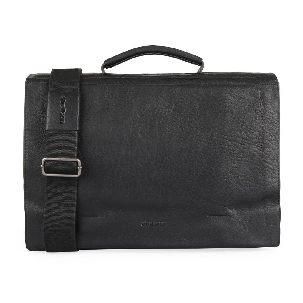 Strellson Pánská kožená taška přes rameno Coleman 4010002310 - černá