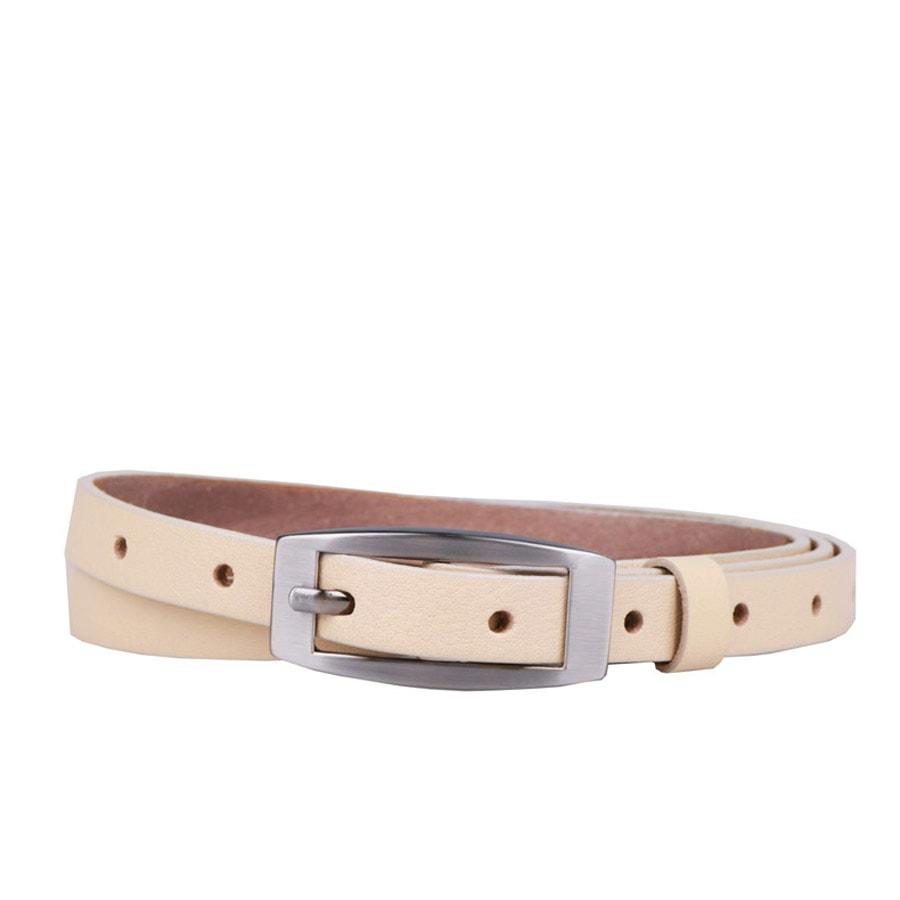 Penny Belts Dámský úzký kožený opasek 15-2-02 béžový - 100