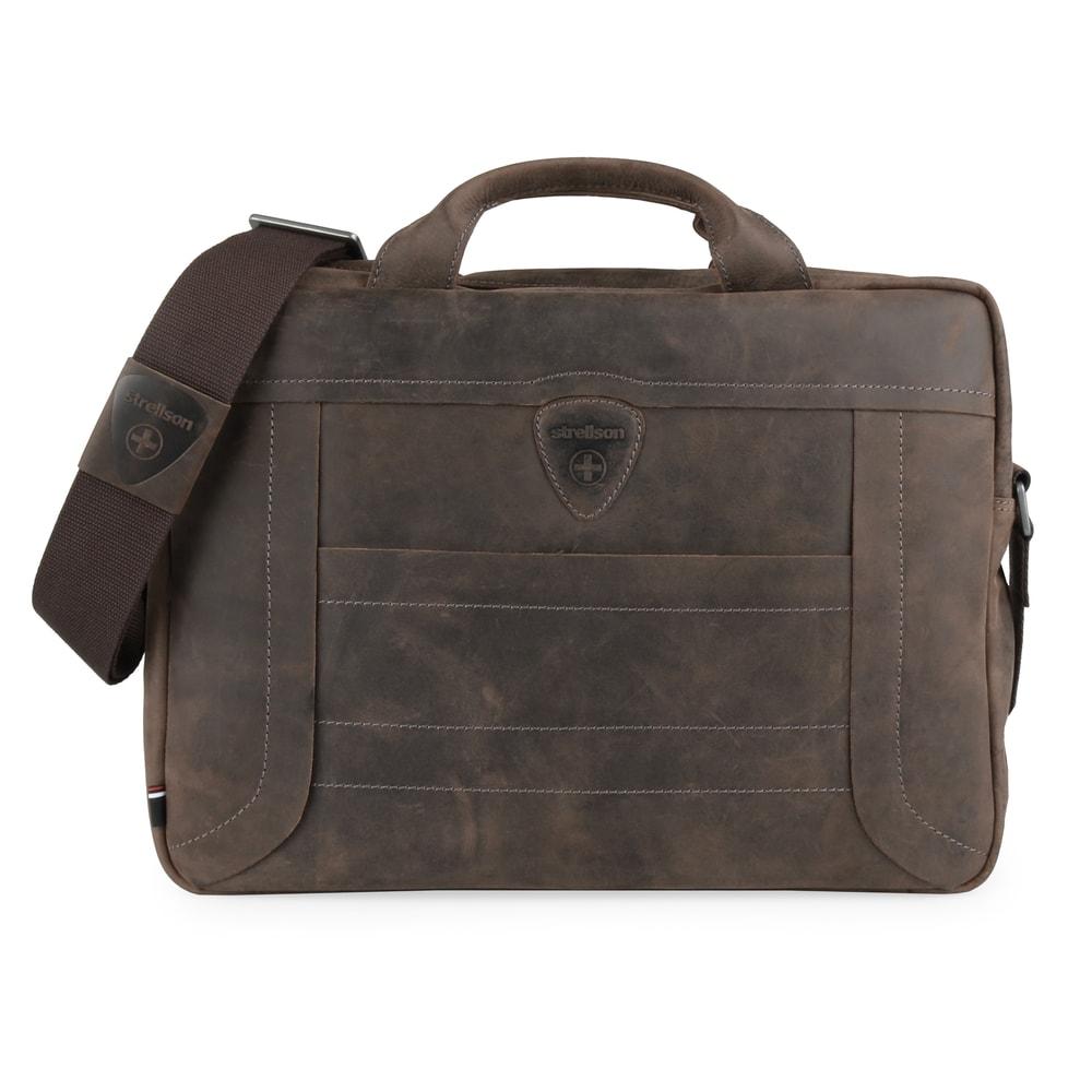 Strellson Pánská kožená taška přes rameno Hunter 4010002639 - tmavě hnědá