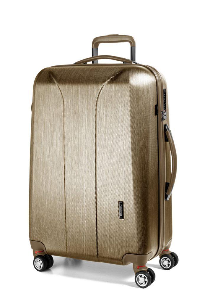Levně March Skořepinový cestovní kufr New Carat SE L 105 l - zlatá